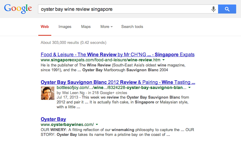 Oyster Bay Wine Review Singapore SERP
